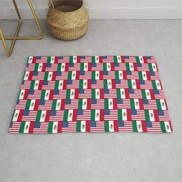 Mix of flag : mexico and usa Rug