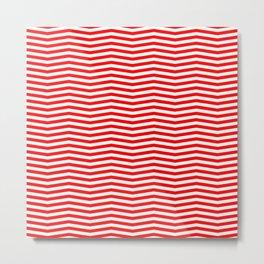 Australian Flag Red and White Wavy Chevron Stripe Metal Print