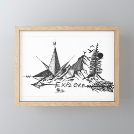 """Explore More"" Hand-Drawn by DarkMountainArts Framed Mini Art Print"