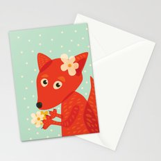 Cute Fox And Flowers Stationery Cards