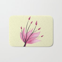 Pink Abstract Water Lily Flower Bath Mat