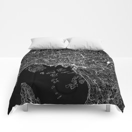 Oslo Black Map Comforters