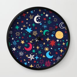 Colorful background of moons and stars Wall Clock