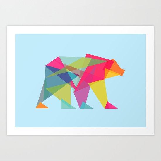 Fractal Bear - neon colorways Art Print