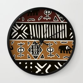 African mud cloth with elephants Wall Clock