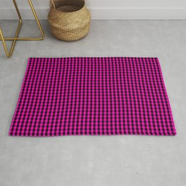 Small Hot Neon Pink and Black Gingham Check Rug