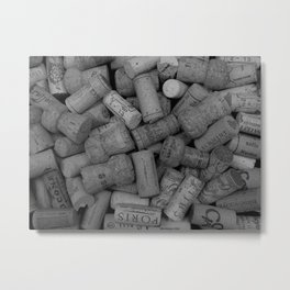 Corks Black and White Metal Print
