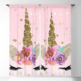 Floral Trendy Modern Unicorn Horn Gold Confetti Blackout Curtain