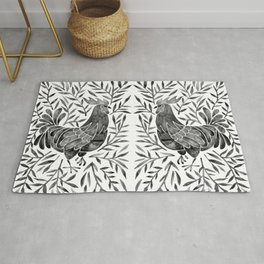 Le Coq – Watercolor Rooster with Black Leaves Rug
