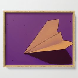 Illustration of a paper plane on purple background in retro and vintage style Serving Tray