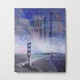 Famous San Francisco Landmark Mixed Media Art Metal Print