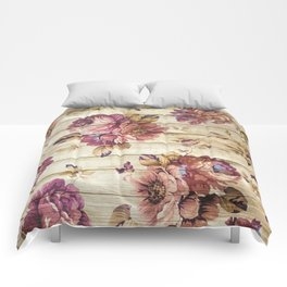 Rustic Vintage Country Floral Wood Romantic Comforters
