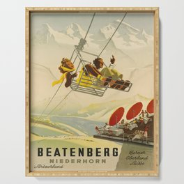 retro Plakat Beatenberg Niederhorn voyage poster Serving Tray