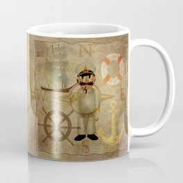 Captain, ship, rudder, anchor, lifebelt, map, compass, old map, messy, messy map Coffee Mug