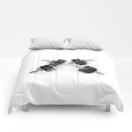 Crossed chrome hand barbells weights Comforters