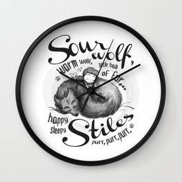 Sterek Sleepy Wolf & Stiles II Wall Clock