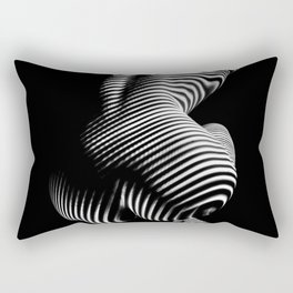 0727s-MM Black and White Striped Fine Art Nude Woman Back Bottom Butt Abstracted Rectangular Pillow