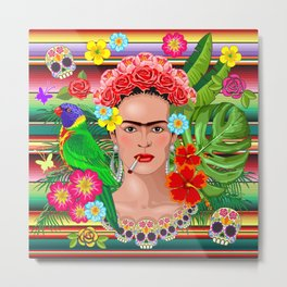 Frida Kahlo Floral Exotic Portrait Metal Print