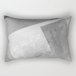 Black and Metallic Silver - Digital Geometric Texture Rectangular Pillow
