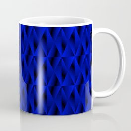 Mystical iridescent blue rhombs and black triangles with square volume. Coffee Mug
