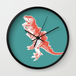 Dino Pop Art - T-Rex - Teal & Dark Orange Wall Clock