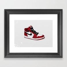 Nike Air Force 1 - Retro - Red & Black & White Framed Art Print