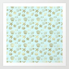 Blue Mint Gold Sea Shells Art Print