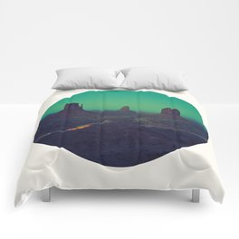 Mid Century Modern Round Circle Photo Graphic Design The Grand Canyon With Green Sunset Sky Comforters