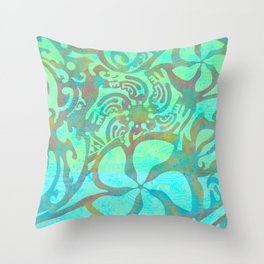 Polynesia Teal Print Throw Pillow