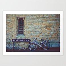 Bike, Wall and Window- Oxford, England Art Print