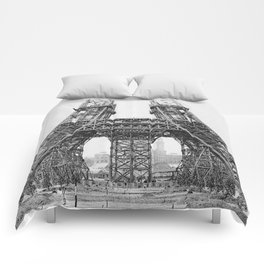 Eiffel Tower Construction Comforters