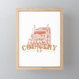 Windows Down Country Up - Truck Driver Music Gift Framed Mini Art Print
