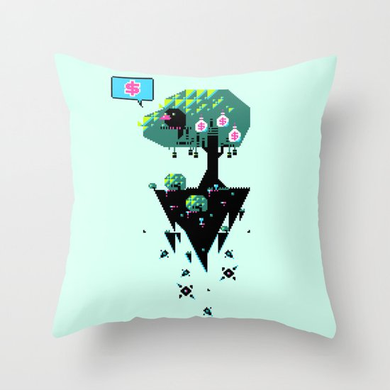 Greedy Grackle Throw Pillow