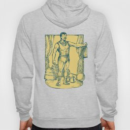 Strongman Lifting Weight Drawing  Hoody