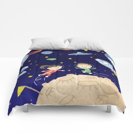 Space kids astronauts planets asteroids and spaceships Comforters