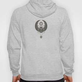 Deep Gray and Black Winged Egyptian Scarab Beetle with Ankh Hoody