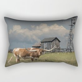 Longhorn Steer in a Prairie pasture by 1880 Town with Windmill and Old Gray Wooden Barn Rectangular Pillow