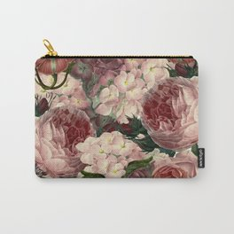 Vintage & Shabby Chic Pink Dark Floral Roses Lilacs Flowers Watercolor Pattern Carry-All Pouch
