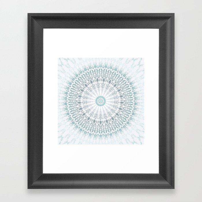 Teal Aqua Mandala Gerahmter Kunstdruck