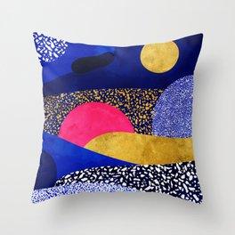 Terrazzo galaxy blue night yellow gold pink Throw Pillow