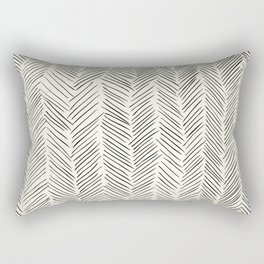 Herringbone Black on Cream Rectangular Pillow