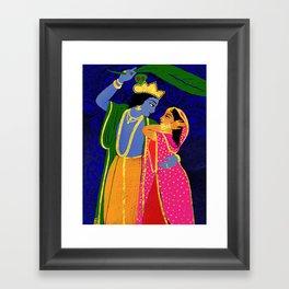Radha & Krsna Colorful Illustration  Framed Art Print