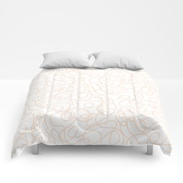 Doodle Line Art   Peach/Apricot Lines on White Background Comforters