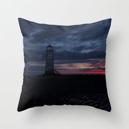 Talacre Lighthouse Sunrise Throw Pillow