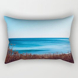 Vibrant beautiful coast of sea of Japan . Ocean horizon. Nautical background Rectangular Pillow
