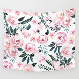 Floral Rose Watercolor Flower Pattern Wall Tapestry