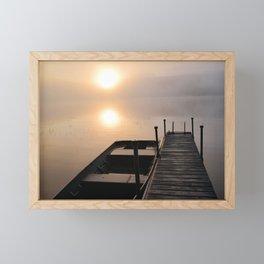 Foggy Adirondack Dawn: Sun, Boat, and Dock Framed Mini Art Print