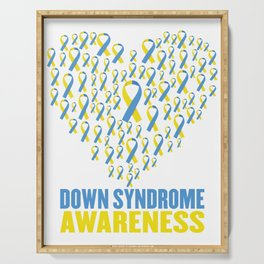 Down syndrome awareness design with ribbon heart Serving Tray