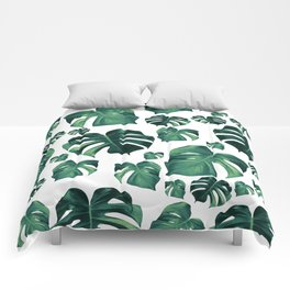 Tropical Monstera Pattern #3 #tropical #decor #art #society6 Comforters