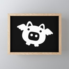 Pigs Will Fly - white on black Framed Mini Art Print